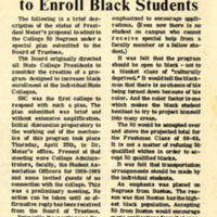 Clarification of Black Student Enrollment Plan at SSC