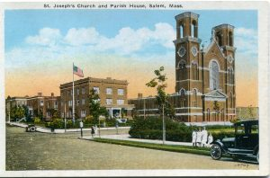 St. Joseph's Church was located at the site of the 135 Lafayette Street apartment building. The brick church shown here was built in 1913.