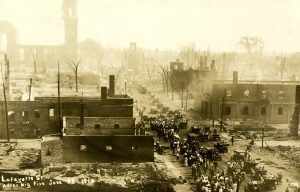 The Great Fire of 1914 reduced the Point neighborhood to rubble. The St. Joseph's Church and Naumkeag Mill were destroyed, along with many residential and commercial buildings.