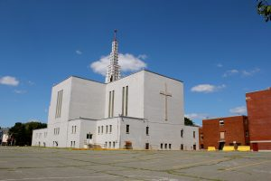 St. Joseph's French Church, built in 1948, closed in 2004, was razed in 2013 and replaced by an apartment building.
