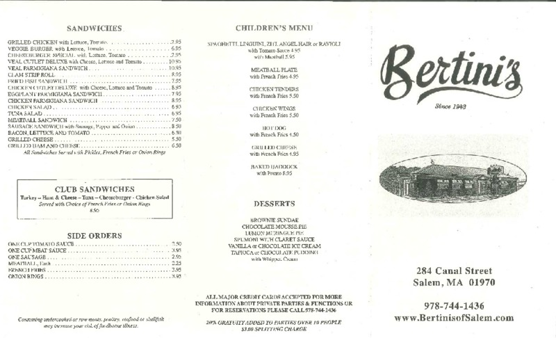 Bertini's Restaurant 2017 Menu