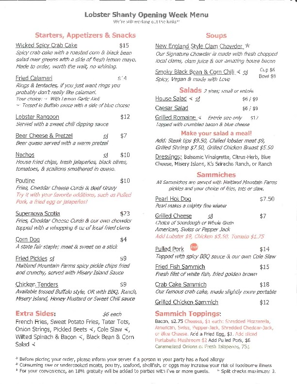 The Lobster Shanty Opening Week Menu 2017
