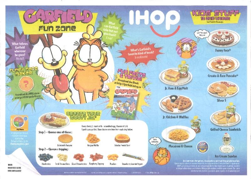 IHOP Children's Menu