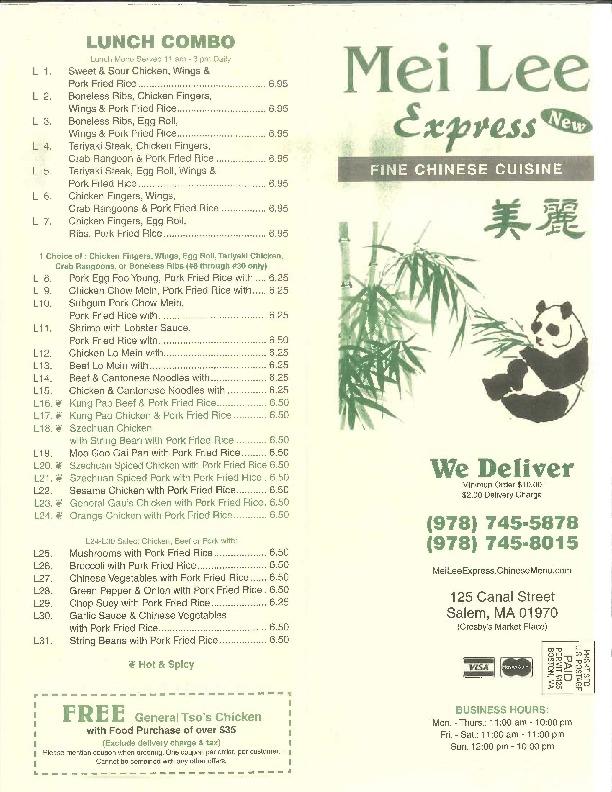Mei Lee Express Menu