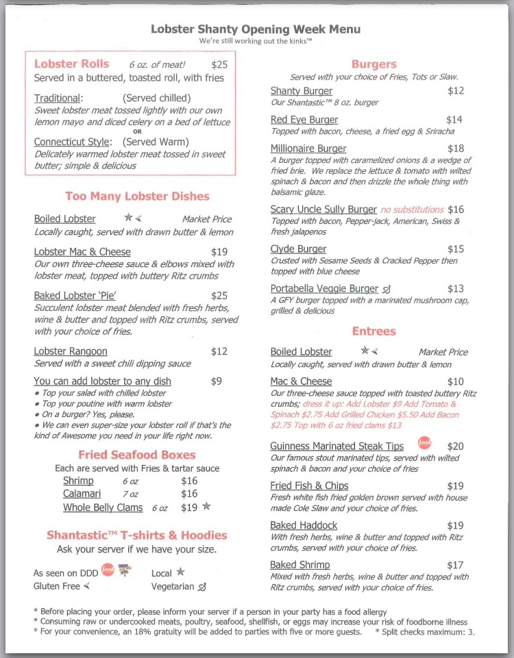 Lobster Shanty Food Menu